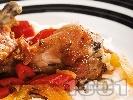 Рецепта Вкусно пиле на порции със задушени зеленчуци (тиквички, патладжани, чушки) и ориз на фурна